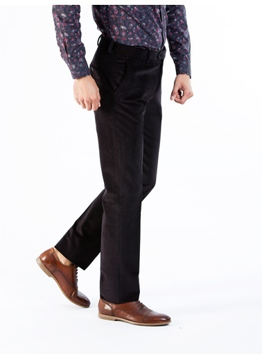 Dufy Sıyah Büyük Beden Kadıfe Erkek Pantolon - Battal Siyah